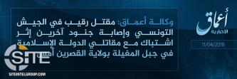 'Amaq Reports Death of Tunisian Sergeant in Clash with IS Fighters in Kasserine