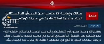 IS' Khorasan Province and Hizb al-Ahrar Give Competing Claims for Quetta Suicide Bombing