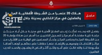 IS' Khorasan Province Cautions Muslims in Nangarhar from Approaching Election Centers