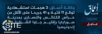 IS' 'Amaq Reports Group's Responsibility for 3 Suicide Bombings at Churches in Indonesia