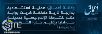 'Amaq Reports IS' Responsibility for Suicide Bombing at Indonesian Police Station in Surabaya