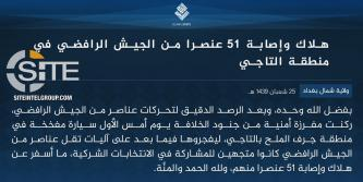 IS Claims Killing, Wounding 51 Iraqi Soldiers in Car Bombing in Taji