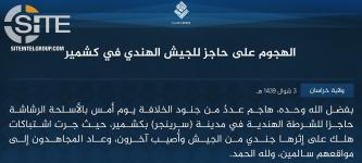 IS' Khorasan Province Claims Attack on Indian Army Checkpoint in Kashmir