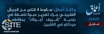 IS Claims Killing 4 Filipino Soldiers in Bomb Blast in Minadano