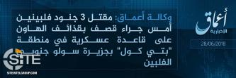 IS Claims Killing 3 Filipino Soldiers in Attack on Military Base in Sulu