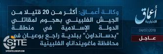 'Amaq Reports IS Killing Over 20 Filipino Soldiers in Attack in Maguindanao