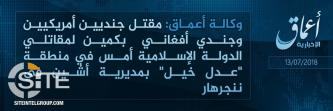 'Amaq Reports 2 U.S. Soldiers Killed in IS Ambush in Nangarhar's Achin District (Afghanistan)