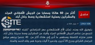 "IS' Khorasan Province Claims Killing and Wounding 60 Afghan Soldiers and ""Polytheists"" in Jalalabad"