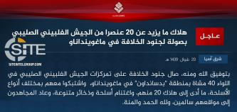 IS Claims Killing 20 Filipino Soldiers from the 40th Infantry Brigade in Maguindanao in Formal Communique