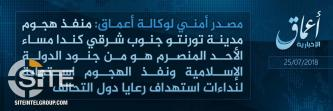 "'Amaq Reports Toronto Shooter a ""Soldier of the Islamic State"""