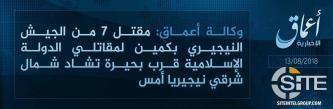 IS' 'Amaq Reports Seven Nigerian Army Soldiers Killed by IS Fighters