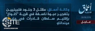 IS' East Asia Province Claims Bombing Filipino Soldiers in Sultan Kudarat in Mindanao