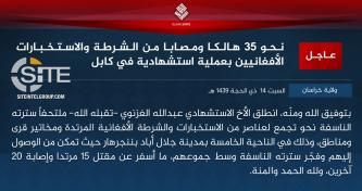 IS' Khorasan Province Claims Suicide Bombing on Security Elements, Local Officials in Jalalabad