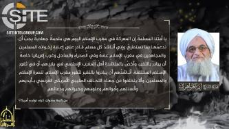 AQIM Promotes Zawahiri's Call to Support North African Fighters in Multiple Western Languages