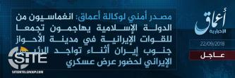 IS Claims Attack on IRGC Military Parade in Iranian City of Ahvaz