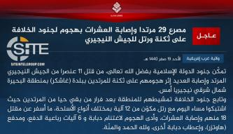 IS' West Africa Province Claims Killing 29 Nigerian Soldiers in Operation in Gashigar