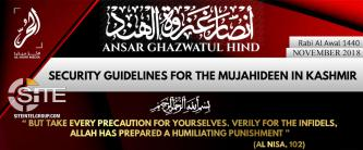 Ansar Ghazwat-ul-Hind Gives Security Guidelines to Fighters in Kashmir