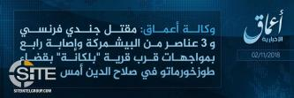 IS Claims Killing French Soldier and Peshmerga Forces in Salahuddin