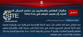 IS' West Africa Province Claims Inflicting Dozens of Casualties Among Nigerian Soldiers in Attack in Baga