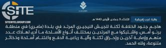 IS' West Africa Province Claims Attack on Nigerian Military Position in Mamuri (Borno)