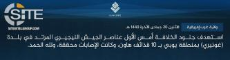 IS' West Africa Province Claims Multiple Mortar Strikes on Nigerian Soldiers in Borno and Yobe