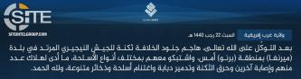 "IS' West Africa Province Claims Killing ""A Number"" of Nigerian Army Soldiers in Borno"
