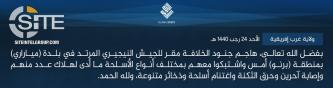 "IS' West Africa Province Claims Killing ""A Number of"" Nigerian Forces in Borno Attack"