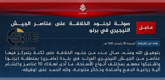 IS Claims Killing 10 Nigerian Soldiers in Attack on Barracks in Borno