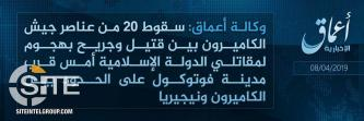 'Amaq Reports 20 Casualties in ISWAP Attack on Cameroonian Soldiers Near Fotokol