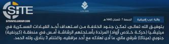 IS' West Africa Province Claims Killing MSA Officer South of Ménaka (Mali)