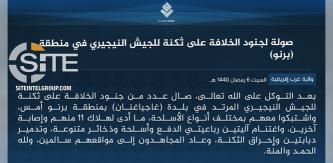 IS Claims Killing 11 in Assault on Nigerian Army Barracks in Borno