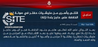 IS Claims Attack on LNA Checkpoint Near Zella Oilfield, Taking 4 POWs