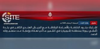 "IS' ""Hind Province"" Claims Clash with Indian Forces in Amshipora (Kashmir)"