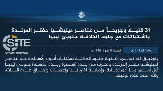 IS Claims Inflicting 31 Casualties in LNA Ranks in Clashes in Southern Libya