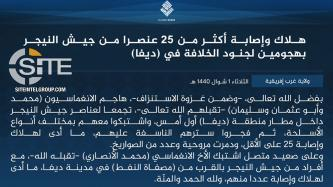 IS' West Africa Province Claims 2 Suicide Raids in Niger Inflicting at Least 25 Casualties