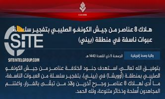 IS' Central Africa Province Claims Killing 8 Soldiers in Bomb Blasts in Owicha (DRC)