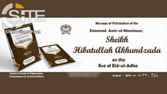 "Afghan Taliban Leader Promotes Political Success in Eid al-Adha Message, Equates Negotiations to Armed Jihad in Terms of Ending ""Occupation"""