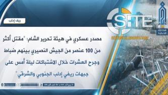 HTS Claims 100+ Syrian Regime Soldiers & Officers Killed in Idlib Clashes