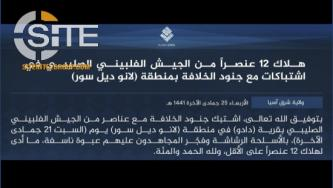 IS Claims Killing 12 Members of the Philippine Army in Lanao Del Sur