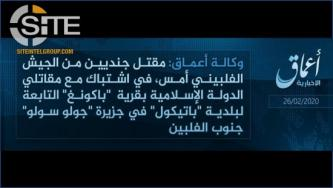 IS Claims Killing 2 Filipino Soldiers in Ongoing Sulu Clashes