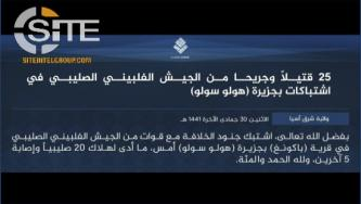 IS Claims 25 Casualties from Philippine Army in Sulu