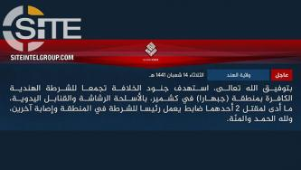 IS' Hind Province Claims Attack on CRPF in South Kashmir