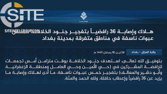 IS Claims 36 Casualties Among Shi'ites in 5 Bombings in Baghdad
