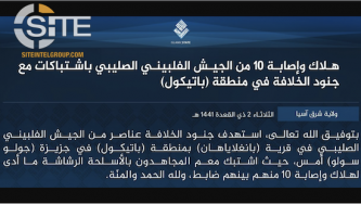 IS Claims 10 Casualties from Philippine Army in Sulu Clash