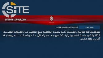 IS' Hind Province Claims Credit for Gunfight with Security Forces in Srinagar