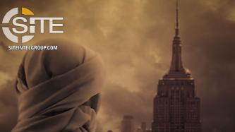 Pro-IS Group Depicts Fighter Looking Out at Empire State Building in Incitement Poster