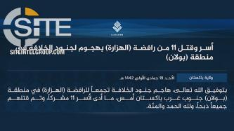 IS Pakistan Province Claims Credit for Execution of 11 Shi'a Hazaras in Bolan