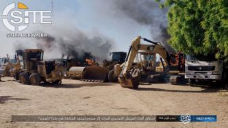 ISWAP Photographs Slain Nigerian Troops, Burning Construction Vehicles in Gujba