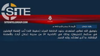 IS Claims Shooting Death of Afghan Judge in Nangarhar