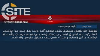 ISKP Claims Killing 4 Shi'a Hazara in Attack in Ghor, Bombing Vehicle of Afghan MP in Nangarhar